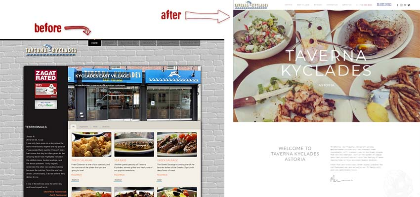 taverna kyklades website upgrade restaurant usa before and after